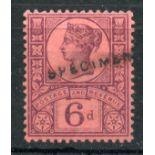 1887 - 1900 6d purple Jubilee opt Specimen mint. SG 208s. Cat £65.