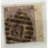 1862 - 4 6d lilac plate 3 (EE) wmk inverted used. SG 84wi. Cat £450.