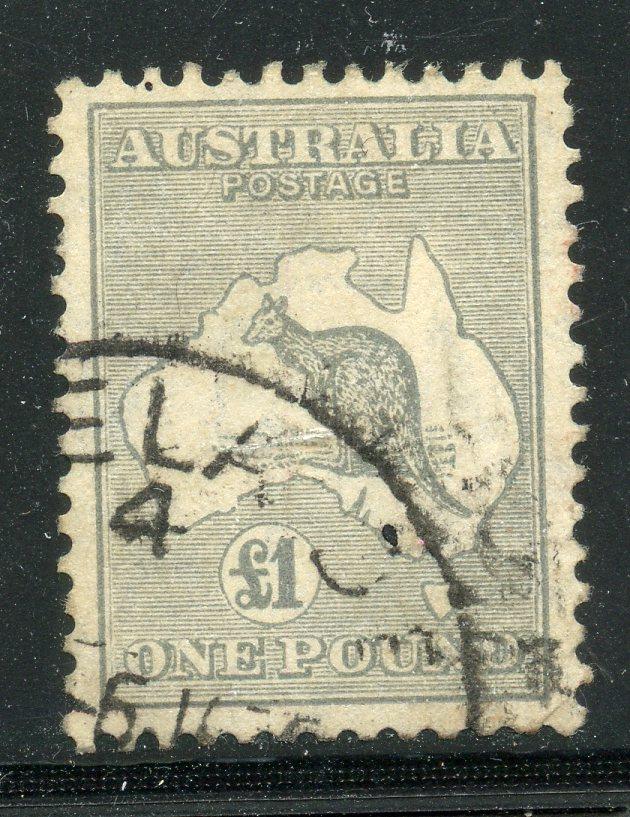 AUSTRALIA 1931 - 36 £1 grey wmk C of A fu. SG 137. Cat £275.