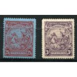 BARBADOS 1925 - 35 2/6 and 3/- seals mint. SG 238a, 239. Cat £46.