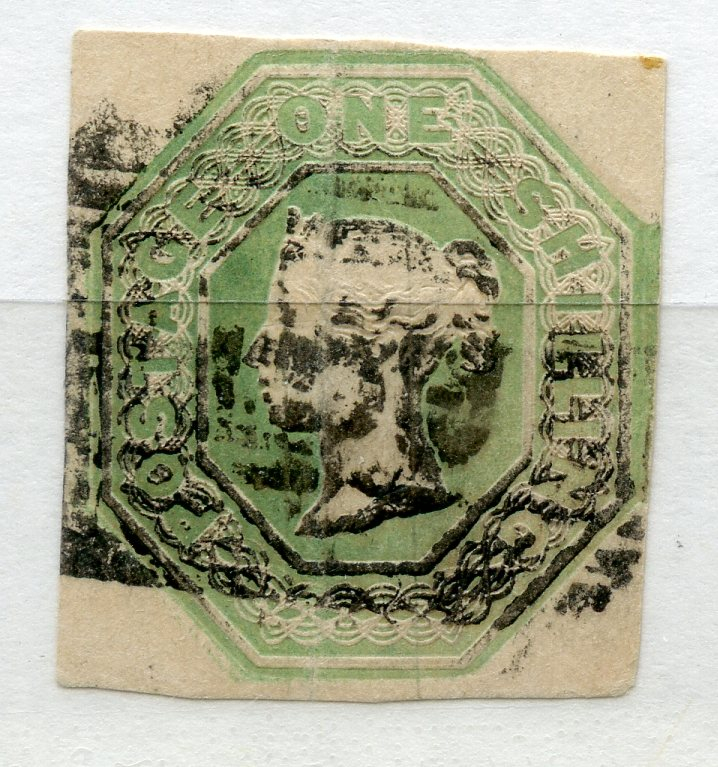 1847 Embossed 1/- pale green 4 margined with duplex cancel. SG 54. Cat £1000.