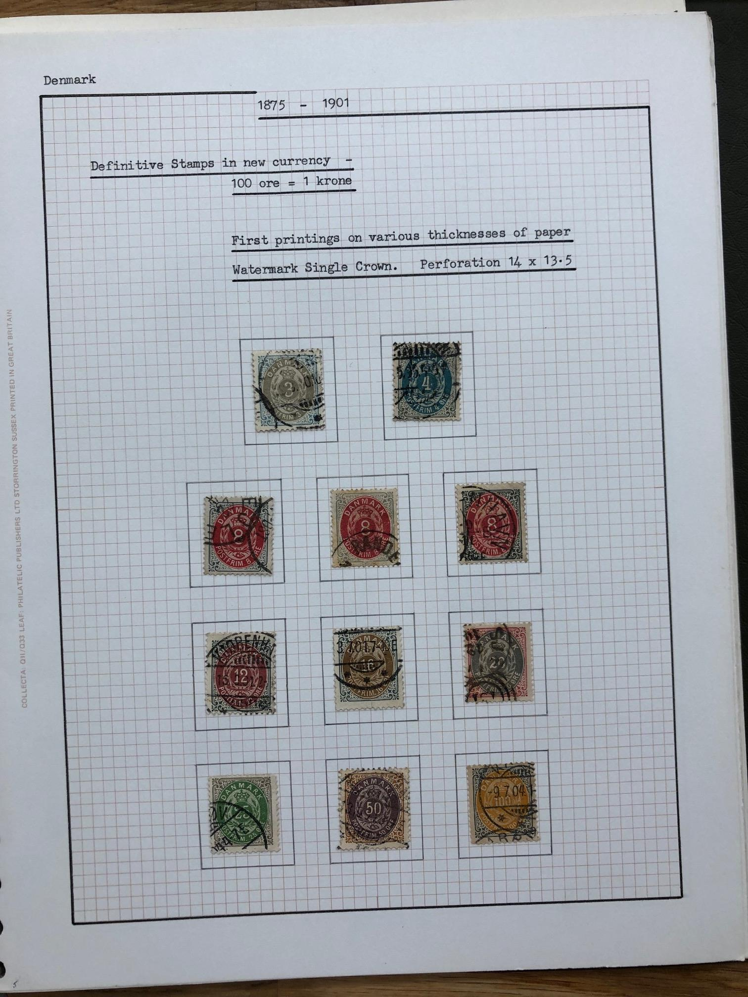 DENMARK 1875 - 1990 collection of definitives in 2 albums, all identified with the value in the - Image 2 of 2