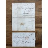 POSTAL HISTORY 1804 entire with red Bishop and m/s 5. Also 1833 entire with boxed str. Line '