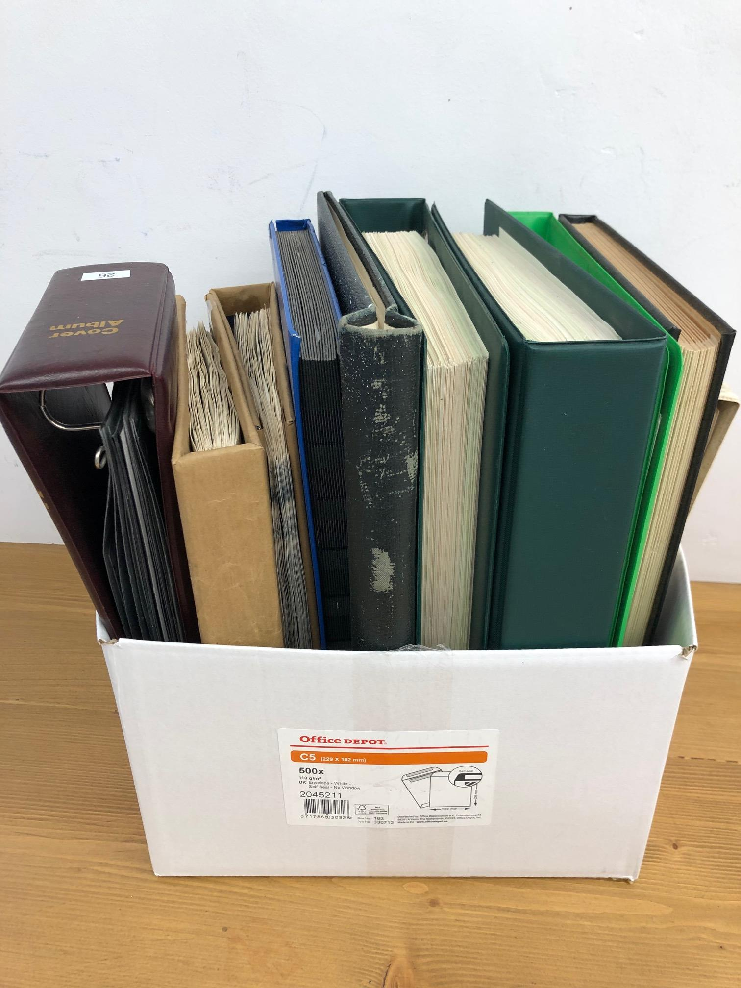 COMMONWEALTH box containing a mostly used duplicated accumulation in 9 albums or stock books, mainly