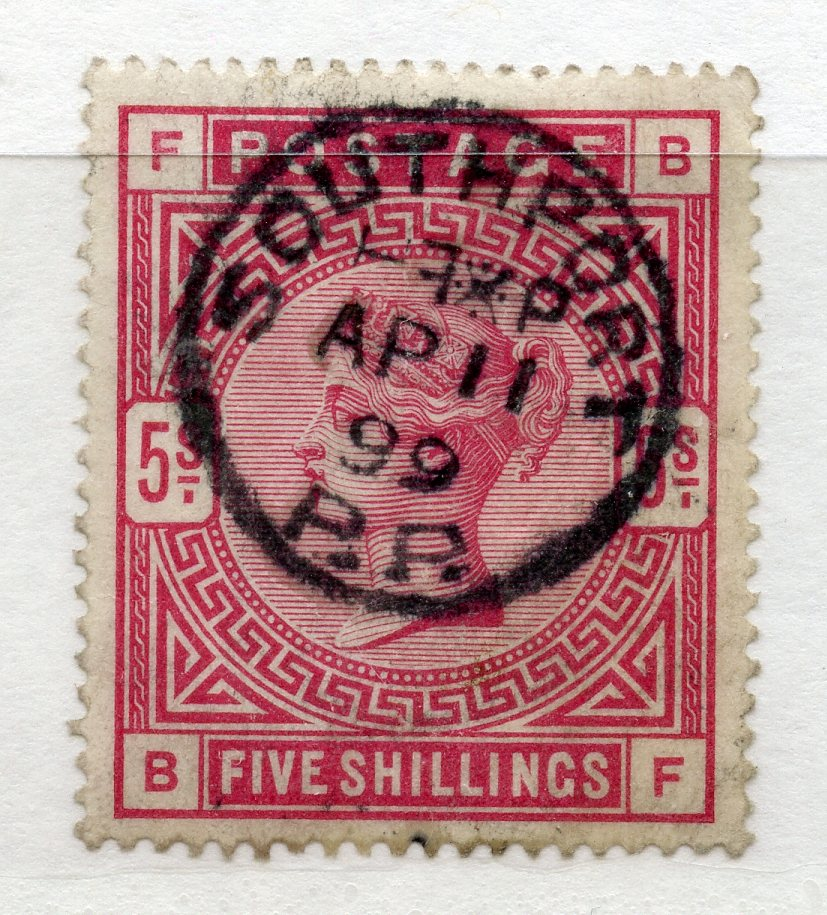 1883 5/- crimson (BF) fu with Southport cds. SG 181. Cat £250.