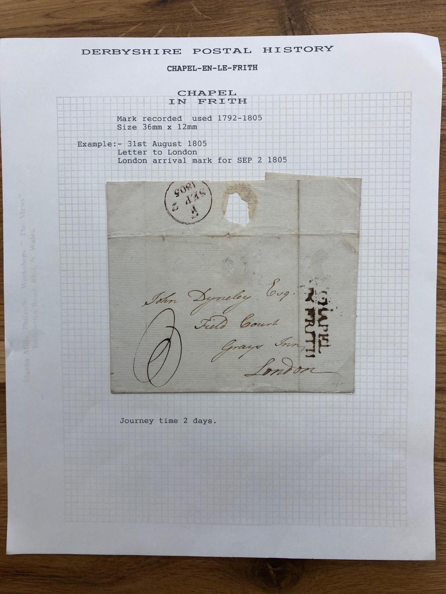 POSTAL HISTORY good 2 line Chapel Le Frith on cover to London.