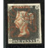 1840 1d Black plate 4 (OH) vfu 4 margined with red MX canc, fault top left.