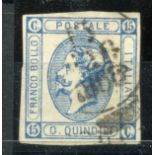 """ITALY 1863 15c blue type A showing the """"Closed C"""" variety 4 margined fu. SG 6b. Cat £160."""