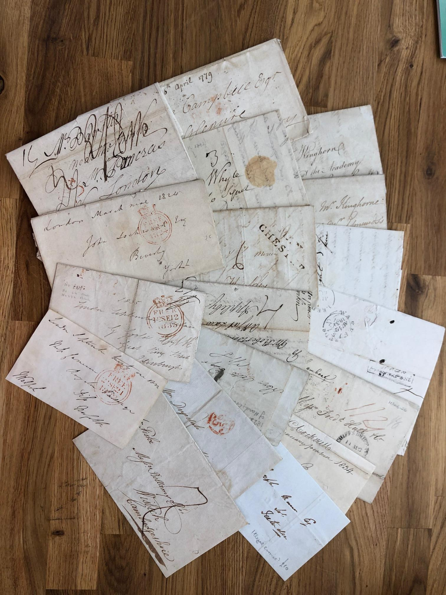 POSTAL HISTORY 1779 - 1834 entires x 17 from England and Scotland, including a few Frees and