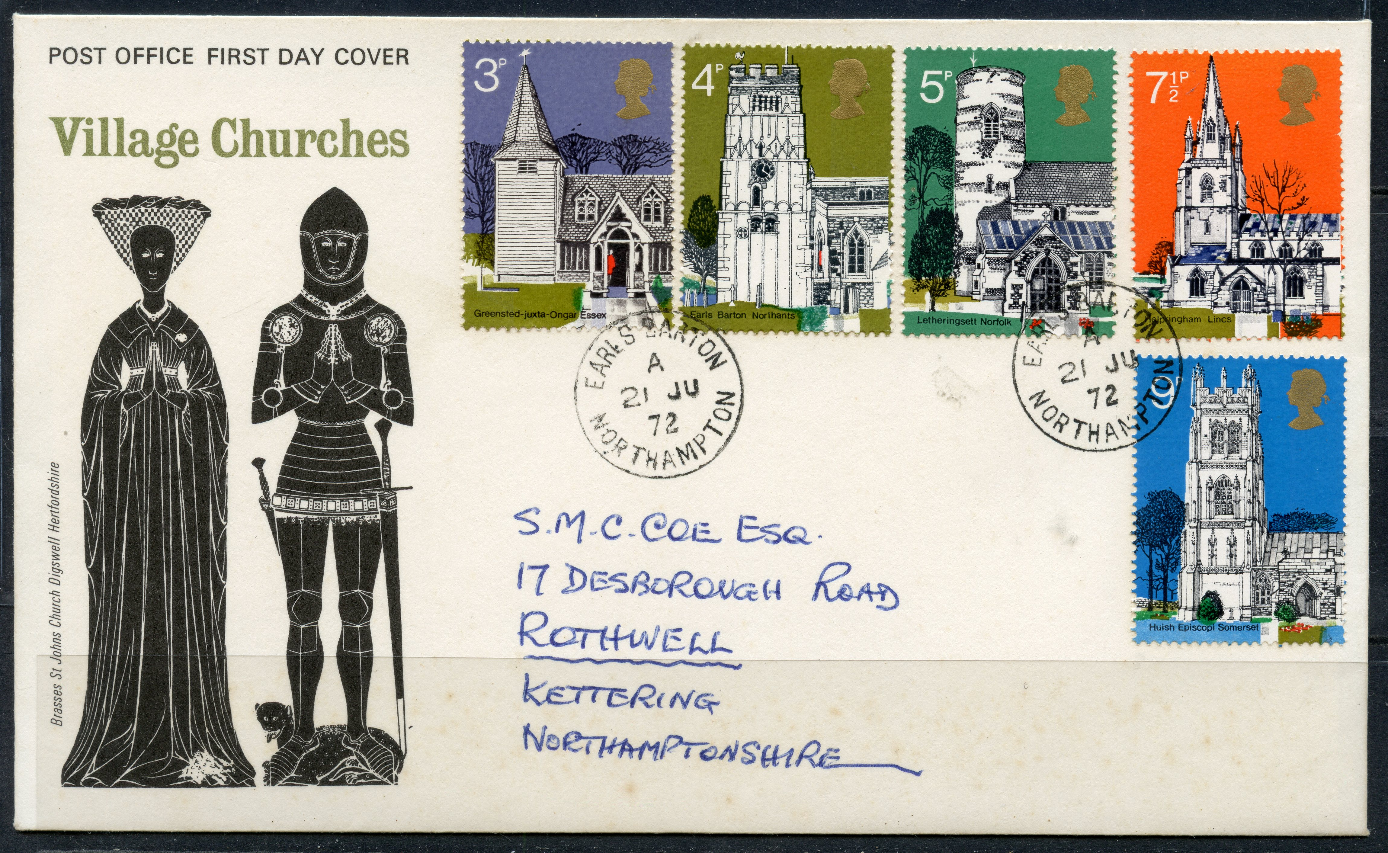 FDCs 1972 Village Churches on GPO, neatly addressed and with Earls Barton cds. Bradbury cat £125.