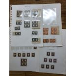 GAMBIA 1886 - 83 wmk Crown CA 2d x 3 blocks, pair, 3d x 5 blocks and 5 pairs, 6d block of 4 plus 4
