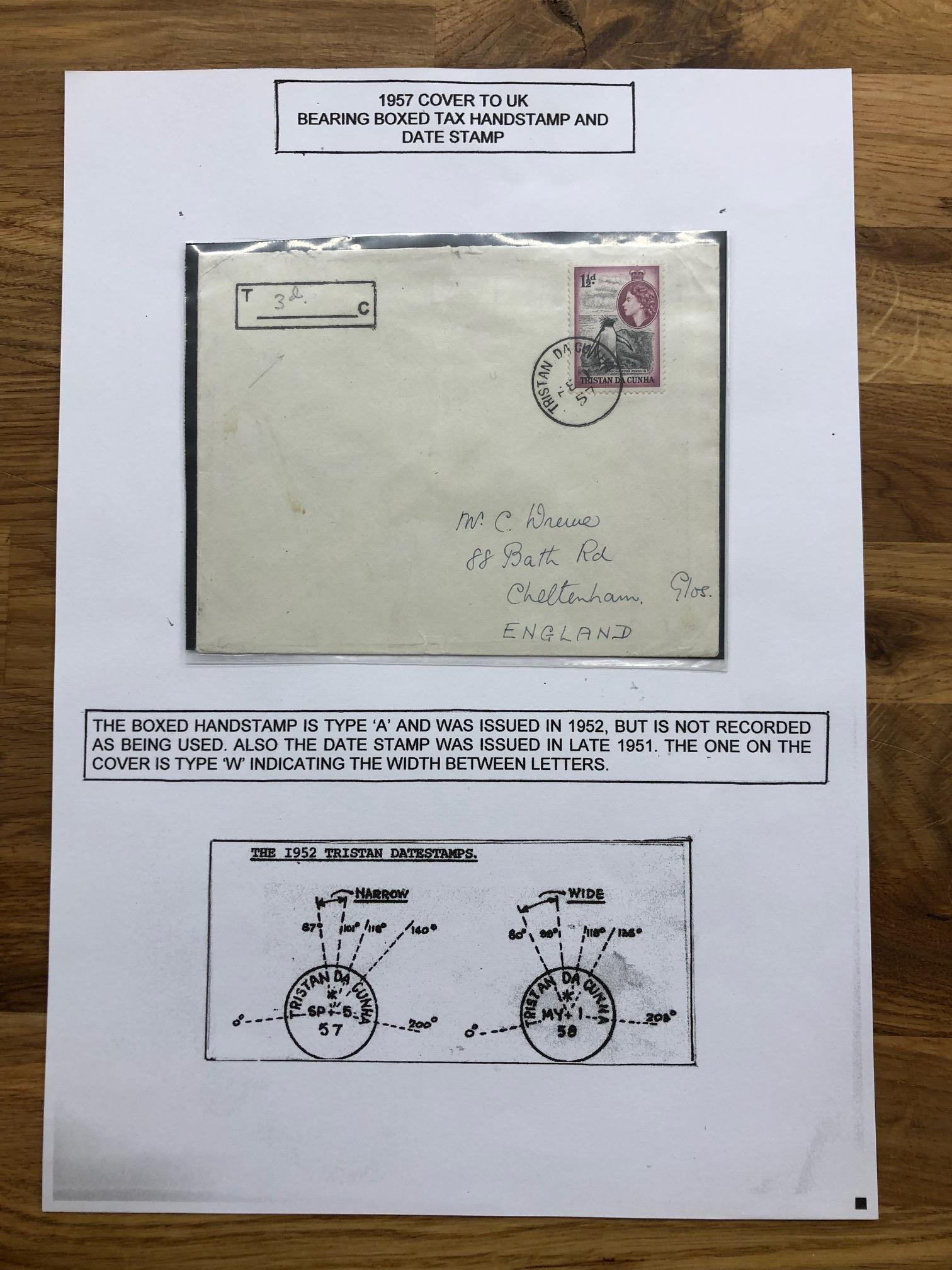 TRISTAN DA CUNHA 1957 1½d on cover to Cheltenham tied cds and bearing the boxed tax handstamp,