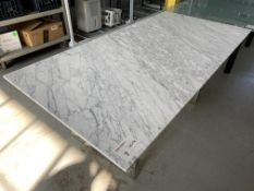 "MARBLE TABLE W/ CHROME LEGS - 72"" x 36"""