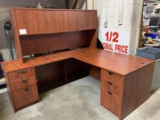 CORNER DESK W/HUTCH - MELAMINE WOOD