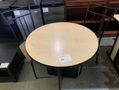 ROUND TABLE - MELAMINE WOOD W/ STEEL & FABRIC CHAIRS - 2PCS