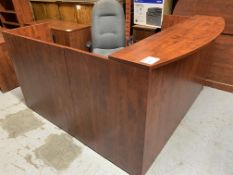 RECEPTION DESK W/FABRIC OFFICE CHAIR - MELAMINE WOOD