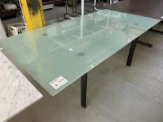 "FROSTED GLASS TABLE W/ STEEL LEGS - 80"" X 40"""