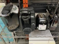 MIXED LOT - KEURIG COFFEE MACHINE; BOSCH TASSIMO COFFEE MACHINE; PROCTOR SILEX TOASTER