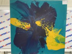 """48""""x48"""" Abstract Painting, Blue & Yellow"""