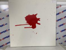 """36""""x36"""" Abstract Painting, White & Red"""