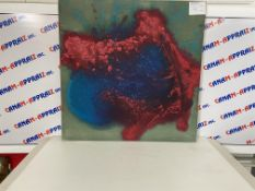 """36""""x36"""" Abstract Painting, Green, Red & Blue"""