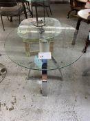 "30"" ROUND GLASS TABLE W/ CHROME LEGS"