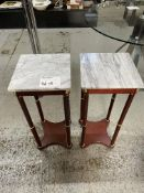 WOOD SIDE TABLE W/ MARBLE TOP x 2