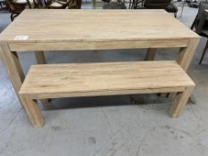 WOOD DINING TABLE W/ BENCH