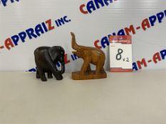 WOOD ELEPHANT STATUE x 2