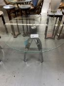 "40"" ROUND GLASS TABLE W/ CHROME LEGS"