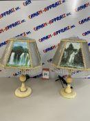 DECORATIVE WATERFALL LAMPS x 2