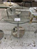 "30"" ROUND GLASS BAR TABLE W/ CHROME LEGS"