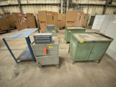 "Lot of (5) rolling tool cabinets and bench, including (2) 36"" x 24"" 2 door 3 tier, and (2) 20"" x 24"""