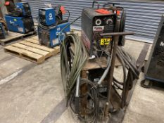 Lincoln Invertech V 300-Pro arc welder SN U1950781376 with a LN-25 wire feeder on rolling cart