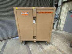 """Knaack Jobmaster mn 112 rolling job site tool cabinet, 2 door, 52"""" x 27"""", 52"""" inside measurements,"""