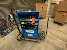 Miller synchrowave 351 CC ac/DC arc welder SN KH316085 with foot peddle controls on rolling cart