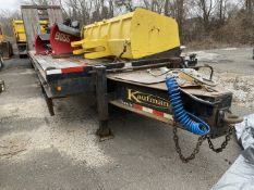 Kaufman T/A beaver tail pintel hook equipment trailer, 30' steel frame, wood deck, 25 Tcapacity