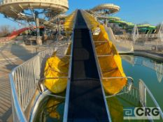 Sky River Rapids 4-person raft ride with raft and tube conveyor to top, all galvanized frame and