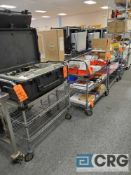 Lot of (4) Metro type shelf portable carts with solid top 3 ft X 18 in.