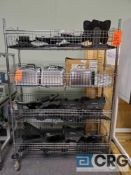 Lot of (4) 4 ft X 18 in. X 69 in. 4 tier portable wire mesh bin rack (LATE REMOVAL)