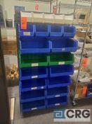Steel storage bin stand with plastic storage bins