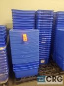 Lot of (50) interlocking stackable plastic totes with covers