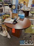 Lot of (4) 42 in. round small wood conference tables, (LATE PICKUP)