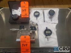Lot of (6) asst digital indicators, digimatic heads and a durometer