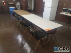 Lot of (3) folding tables and (16) plastic stack chairs (LOCATION: 2ND FLOOR)