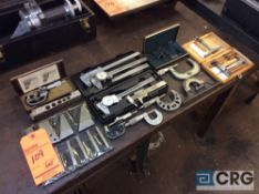 Lot of inspection tools including (5) OD micrometers, (4) calipers, depth mic, etc (LOCATED IN
