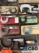 Lot of (11) outside micrometers, including (9) 0-1in micrometers, (2) 1-2in micrometers