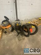 Lot of (3) mobile 2-in-1 blower vacuum units, including (2) Rigid units and (1) Hoover Powermax Plus