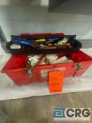 Plumbers tool box with assorted plumbing tools, pieces and materials, including bernzomatic torch
