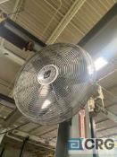 Lot of (7) wall mounted industrial fans, (IN MAIN AREA)